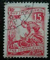 Yugoslavia:1951 -1952 Local Economy 15 Din. Rare & Collectible Stamp.