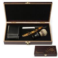 4Pcs Shaver Kit Cut Throat Straight Razor Shaving Brush Strop Wooden Box Gift