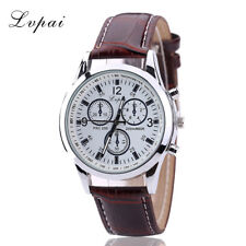 New Mens Watch Stainless Steel Leather Black/Brown Strap Analog Wrist Watches VX