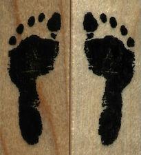 mounted  rubber stamp Footprints set of 2 stamps  small size  each 3/4