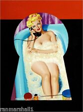 1940s Pin-Up Girl Key Hole Bubble Bath Time Picture Poster Print Art Pin Up