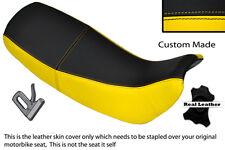 Jaune & noir custom fits honda nx 650 dominator 92-01 double housse siège en cuir