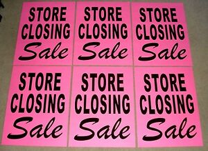(6) STORE CLOSING SALE Window SIGNS  17.5 x 23 Black on Pink Paper