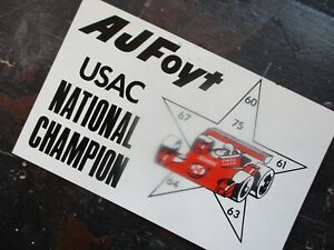 VTG A J FOYT ARCA USAC INDY CAR RACING NATIONAL CHAMPION DASH PLAQUE SIGN