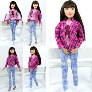 Doll Clothes For Barbie BJD Doll Outfits Pink Plaided Coat Vest Jeans Denim Pant