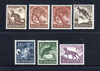 1959 to 1962 **MUH** SET of 7 NATIVE ANIMALS (Incl '61 8d PALE Red Brn Tiger Cat