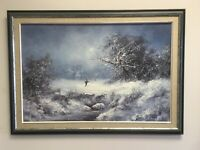 VTG.K. Beiber Signed and Framed Contemporary Oil Skiers Mountain Landscape