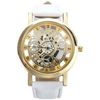 Damen Herren Skelett Uhr Kunstleder Armband Analog Quarz Armbanduhr Sport Wei P1