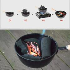 Charcoal Burning Stove Brazier w/ Safe Wood Handle Outdoor Cooking Utensils