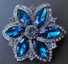 vintage sparkly clear blue rhinestone flower silver tone brooch -R296
