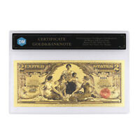 2 Dollars In 1875 24k Gold Banknote with Protect Case for Collection Art Craft