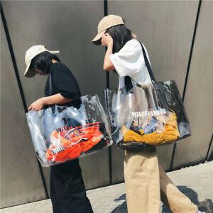 Fashion Women Shoulder Beach Bag Transparent PVC Jelly Bags Tote Handbag Satchel