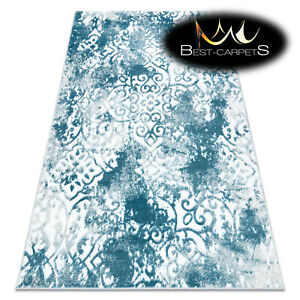 Modern Designer cheap Rug 'MEFE' Ornament structural CREAM / BLUE Best carpet