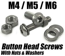 M4 M5 M6 Button Head Screws Socket Bolts with Hex Nuts & Washers Stainless Steel