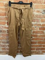 NEXT WOMENS TAN COMBAT TROUSERS WITH POCKETS, TIE PETITE SIZE: 10R BNWT RRP £32