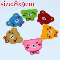 6pcs Big Bear Fabric Embroidery Iron On Sewn cloth Patches Motif Appliqué 8X9cm