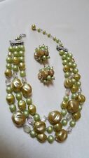 1950's 3 Strand Necklace & Clip Earrings-Beads in Greens & Aurora Borealis Rhine