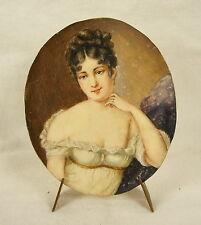 Juliette Julie Récamier miniature c1900 huile sur plaque de cellulose 8 cm