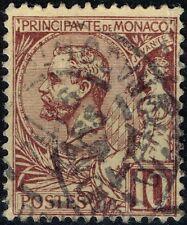 MONACO PRINCE ALBERT Ier 10c LILAS-BRUN S JAUNE N° 14 OBLITERATION CACHET A DATE