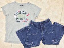 ☀️Girls Outfit Set Gap Gray T-Shirt Top M 8 & Tommy Hilfiger Blue Denim Jeans 4T