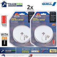 2x Smoke Alarm Fire Detector Chubb/Quell® Made Australian Standard Bonus 9V Batt
