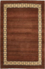 4X6 Hand-Knotted Gabbeh Carpet Modern Brown Fine Wool Area Rug C0688