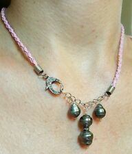 Pave Diamond Tahitian pearl silver pink braided leather reverse necklace