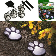 Hot 4 Solar Dog Cat Animal Paw Print Lights Garden Outdoor LED Path Lamp Auto On