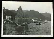 Vintage Snapshot Photo Hong Kong Aberdeen Harbor Chinese Junk Boat Early 1950's