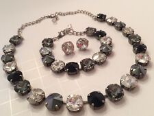 Swarovski Crystal Elements Black White Antique Silver Cup Chain 12mm Jewelry Set