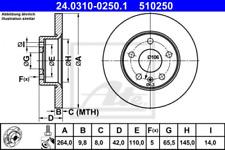 2x Bremsscheibe für Bremsanlage Hinterachse ATE 24.0310-0250.1