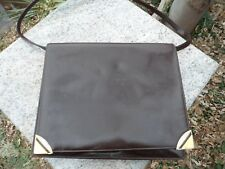 1960's Vintage Brown Leather Kelly Style Bag Purse MASTERCRAFT Montreal Canada