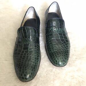 Genuine Caiman Belly Handmade Vogue Regency Green Men's Slip On Shoes size 9 D