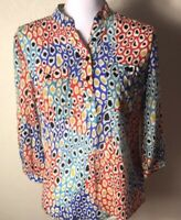 Trina Turk Women's Silk Blouse Multicolor Paisley Pattern Long Sleeve Size S
