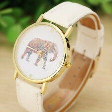 Moda Mujer Elefante Estampado Diseño Entretejidas Cuero Cuarzo Esfera Reloj