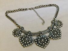 Silver Tone Rhinestone Bib Collar Style Necklace Bohemian Tribal Style