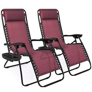 SET OF ADJUSTABLE ZERO GRAVITY LOUNGE CHAIR RECLINERS FOR PATIO/POOL CUP HOLDERS