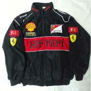 NEW UK Mens FERRARI Black Embroidery EXCLUSIVE JACKET suit F1 team racing