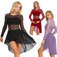 Women Adult Ballet Dress Floral Lace Asymmetric Chiffon Leotard Bodysuit Costume