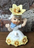 Vintage Miss March Flower Of The Month Birthday Girl Salt/Pepper Shaker 60s Era