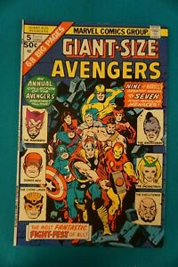 MARVEL COMICS AVENGERS #5 1/75 - VINTAGE (28) BRONZE AGE