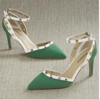 Ashro Formal Church Dress Baila Pumps Heels Green White Studded Size 7.5 8 10
