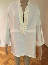 120% LINO ( Italy) Linen Beaded Blouse Kaftan Tunic Size 42 New W/o Tags