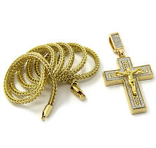 """Mens Gold Plated Iced Jesus Cross Hip-Hop Pendant 24"""" Franco Chain Necklace D252"""