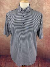 Footjoy Golf Polo Shirt Navy Blue White Stripe Embroidered Logo Poly Spandex Lg.