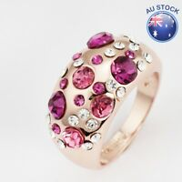 New 18K Solid Gold Plated Unique Fashion Wedding Ring Pink Crystal Size 7 - 8