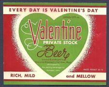Valentine Private Stock Beer Label, Non-IRTP, Enterprise, Fall River, MA