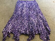 CHICO's Purple White Design Calf Length Casual Skirt womens 1 Small 8