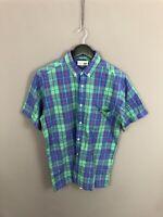 LACOSTE Retro Short Sleeve Shirt - Size Medium - Check - Great Condition - Men's
