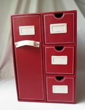 Ribbon Organizer Art Craft Scrapbook Paper Home Storage Drawer Red Faux Leather